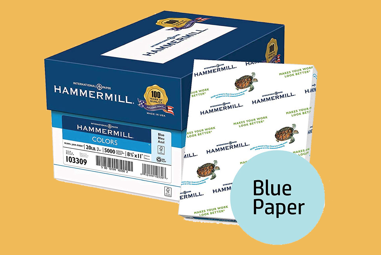 Hammermill Colored Paper, Blue Printer Paper